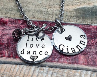 Dancer Gift, Dance recital gift, Live Love Dance Necklace, Dancer Necklace, Dance Jewelry, Gift for Dancer, Personalized Jewelry, Custom