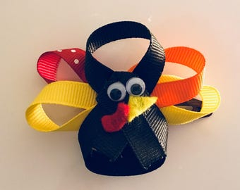 Girls Thanksgiving Turkey Hair Bow