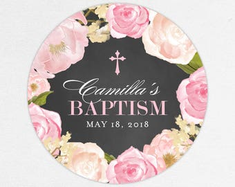 Baptism Favor Tag, Baptism Favor Label, Christening Favor Tag, Christening Labels, Chalkboard, Pink, Floral Baptism, Watercolor, Camilla