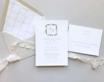 Garden Romance Letterpress Wedding Invitation Suite / Classic Monogram Garden Wedding / #1137