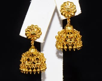 22K Gold Earrings - Dangle Earrings - Gold Studs - Estate Middle Eastern 22K Solid Gold Filigree Faceted Beaded 2-In-1 Earrings - ExoticGold