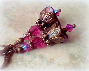 Fuchsia Earrings, Handmade Earrings, Magenta Earrings, Vintage Style, Victorian, Boho, Bridal Earrings, Autumn Jewelry, Fuchsia Crystal Drop