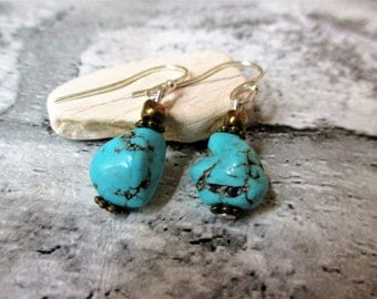 turquoise nugget gemstone earrings  sterling silver earwires boho womens mens with gift bag