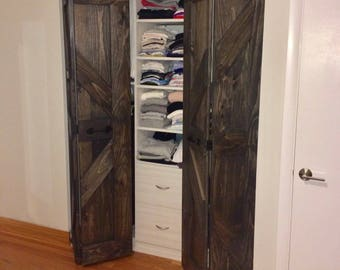 Hinged | Bi Fold | Sliding Pantry Doors by Rustic Luxe - British Brace Design - Weathered Teak