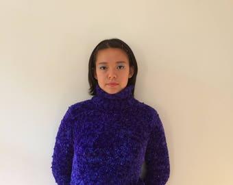 Neon Purple Fuzzy Turtleneck Sweater 90s Rave Aesthetic