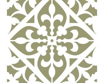 Wall Stencils Damask Tile Stencil for DIY Decor Faux Reusable Template V0029