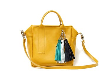 Box Bag in mustard yellow leather // Top handle Crossbody bag