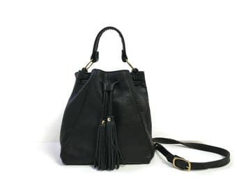 Convertible Bucket Bag in Black