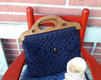 Macrame purse Navy blue clutch purse with wooden handle.