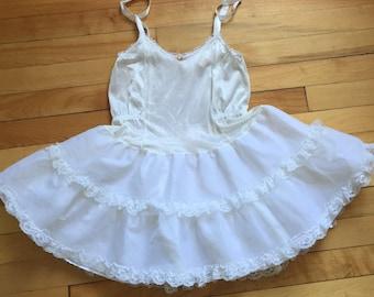 Vintage 1980s Girls White Lace Petticoat Slip Crinoline! Size 6X