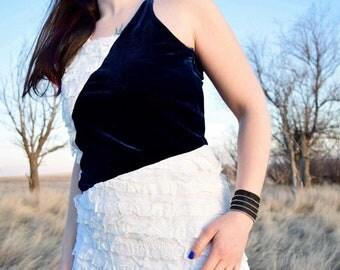 Asymmeyrical White Lace and Blue Velvet Dress