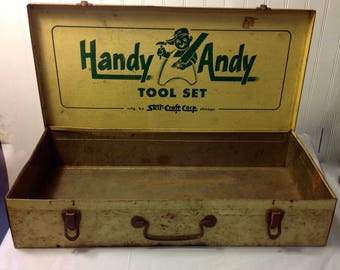 Rusty Old Handy Andy Metal Tool Kit Box