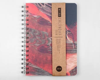 2018 Planner! Thick high quality paper! Bright birdy texture A5 Diary! Weekly daily Calendar Calendario Kalender Agenda Journal! Open-dated