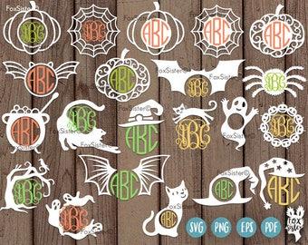 21 Halloween Monogram Frames SVG Bundle, cut files | Frame | Spider Web, Pumpkin, Cat, Caldron, Witch Hat Template | Spooky | Cricut Cameo