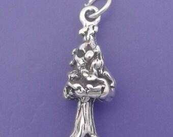 SEQUOIA Tree Charm .925 Sterling Silver, California Redwood Tree Pendant - sc561