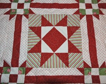 "Small Quilted Christmas Table Topper in Red, Green and White    22"" x 22"""