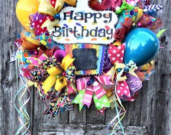 Happy Birthday Wreath, Back to School Wreath, Birthday Party Wreath, Teacher Wreath, Classroom Wreath, School Wreath, Education Wreath