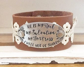 He is my rock, my fortress, my salvation, i will not be shaken - encouraging - inspirational - Religious gift - Bible verse bracelet