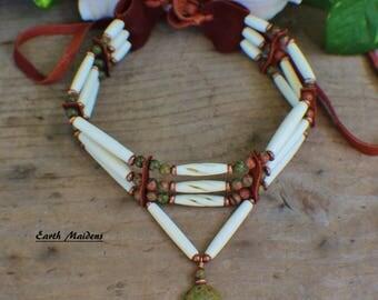Native American Bone Choker w/ Unakite Zuni Bear William Lattie comes w/ Certificate of Authenticity  FREE US SHIPPINg