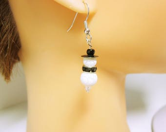 Snowman Christmas White Earrings Holiday Jewelry Snowman Dangles Christmas Jewelry Holiday Earrings White Snowman CHRISTMAS JEWELRY