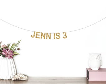 Custom Birthday Banner, Age Banner, Name Banner, Birthday Party Decorations, Personalized Banner, Glitter Banner, Gold Letter Banner
