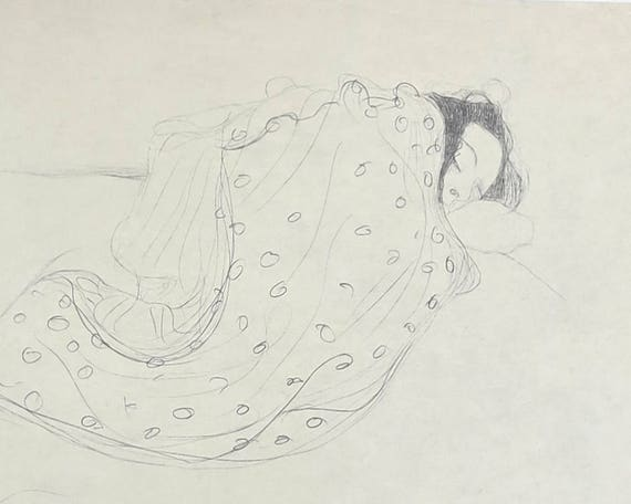 Large Gustav Klimt print of black pencil drawing of sleeping woman partially covered with fabric, 9 x 14 ins, 23 x 35.5 cm, published 1980