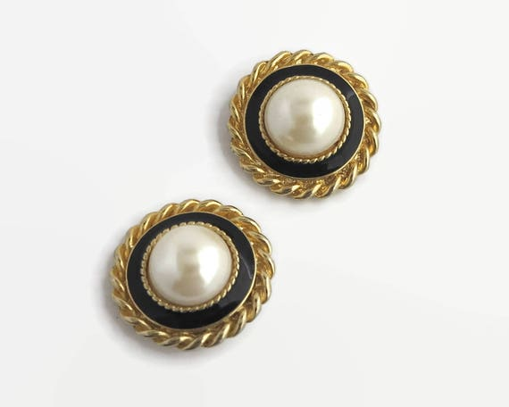 Large gold tone metal earrings with huge faux pearls and black enamel trim, interesting rope details, Emma Page brand, clip ons, circa 1980s