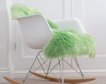 Bright Green Sheepskin Rug Stunning Colour superior genuine Australian sheepskin Throw
