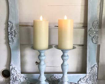 Beach Blue Candlestick Holders Wedding Table Centerpiece French Mantle decor