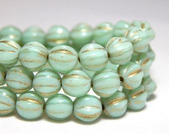 6mm Mint Green Beads, Green Melon Beads, Melon Beads, Mint Green Beads, 6mm Fluted Beads, 6mm Glass Beads, Light Green Beads, T-28A