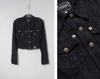VERSACE women's 1990s cropped black jacket