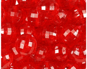 BeadTin Ruby Transparent 18mm Faceted Globe Craft Beads (12pcs)
