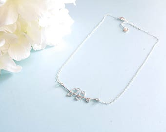 """Necklace size adjustable """"Bird"""" sterling silver"""