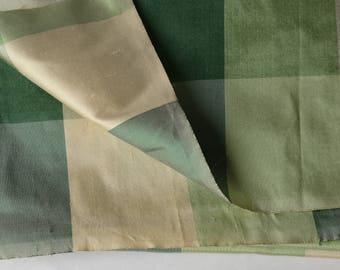 "1/2 Yard Cut Large Green Silk 3"" Check Fabric 54"" Wide -13-B7S"