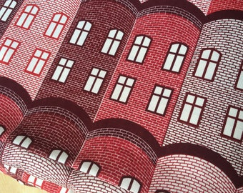 Scandinavian Cotton fabric STAD Red  from Arvidssons - 59 inches (150 cm) wide