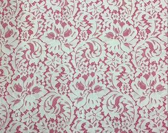 "Chantilly Lace ,eyelash Lace Fabric,rose garden pattern lace  ,off  White Chantilly Lace fabric  for wedding 59"" width-7271"