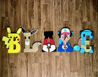 Pokemon Wooden Letters - Pikachu, Eevie, Pokeball, Ash Ketchum, Squirtle