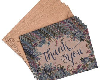 Thank you cards, set 10, 5 or 1 floral thank you card, wedding card, blue floral, thank you card set, thank you notes, bridal shower, thanks
