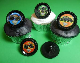 12 Monster Jam Cupcake Rings Toppers Party Favors