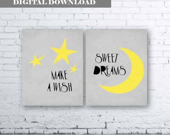 Make a Wish Sweet Dreams Gray Green Nursery Wall Art Print-Instant Download-Set of two (2)Gray Nursery Prints. Stars and Moon Nursery Art.