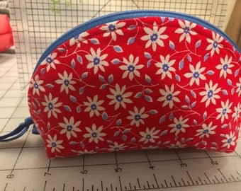 Red flower lined zippered Pouch