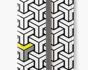 Folio Wallet Case for iPhone 8 Plus, iPhone 8, iPhone 7, iPhone 6 Plus, iPhone SE, iPhone 6, iPhone 5s - Black White Yellow Geometric  Case