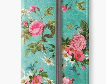 Folio Wallet Case for iPhone 8 Plus, iPhone 8, iPhone 7, iPhone 6 Plus, iPhone SE, iPhone 6, iPhone 5s - Vintage Wildflowers Design