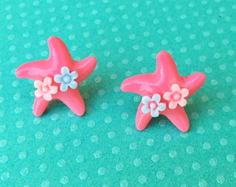 "Under The Sea Collection ""Sea Star Sweetheart"" Dark Pink Fuschia Mermaid Starfish Earrings with Pink and Light Blue Flowers"