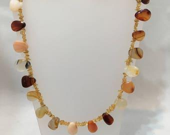 Carnelian agate and citrine beads