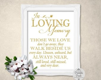 In Loving Memory Sign, Gold Matte Lettering, Printable Wedding Sign, Memory Table, In Honor, Remembrance (#MM12G)