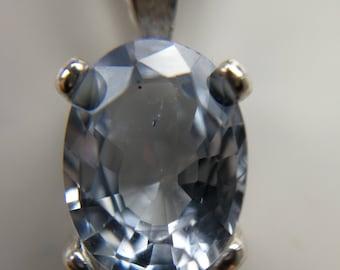 Sapphire pendant Ceylon silver 925 light blue