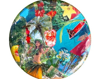 Tabouret, Sur COMMANDE // Tabouret TAHITI, en pin massif relooké par collage par SophieLDesign