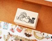 A boy writing a letter / Original Rubber Stamp / Designed by Krimgen