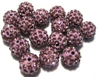 10pcs Light Purple Polymer Clay Rhinestone Beads Pave Disco Ball Beads - Grade A 12mm